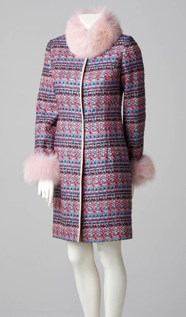 bespoke couture design three quarter length coat fox fur collar and cuffs