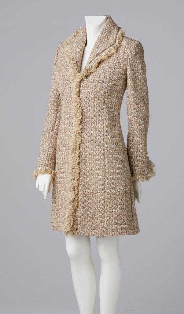 bespoke formal wear designer made to measure white linton tweed three quarter length coat