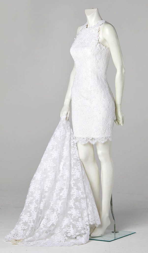 short wedding dress fitted in lace and satin couture wedding dress designer london
