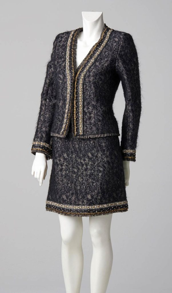 french tweed suit jacket and skirt with fringing couture design london