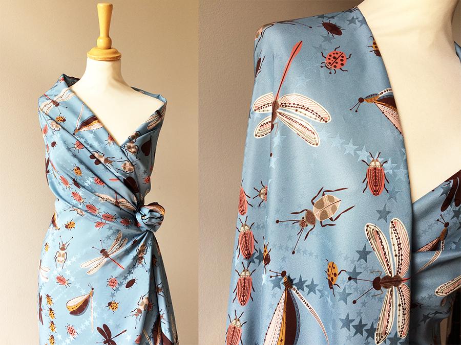 Allison Rodgers Bug Print Silk Dress