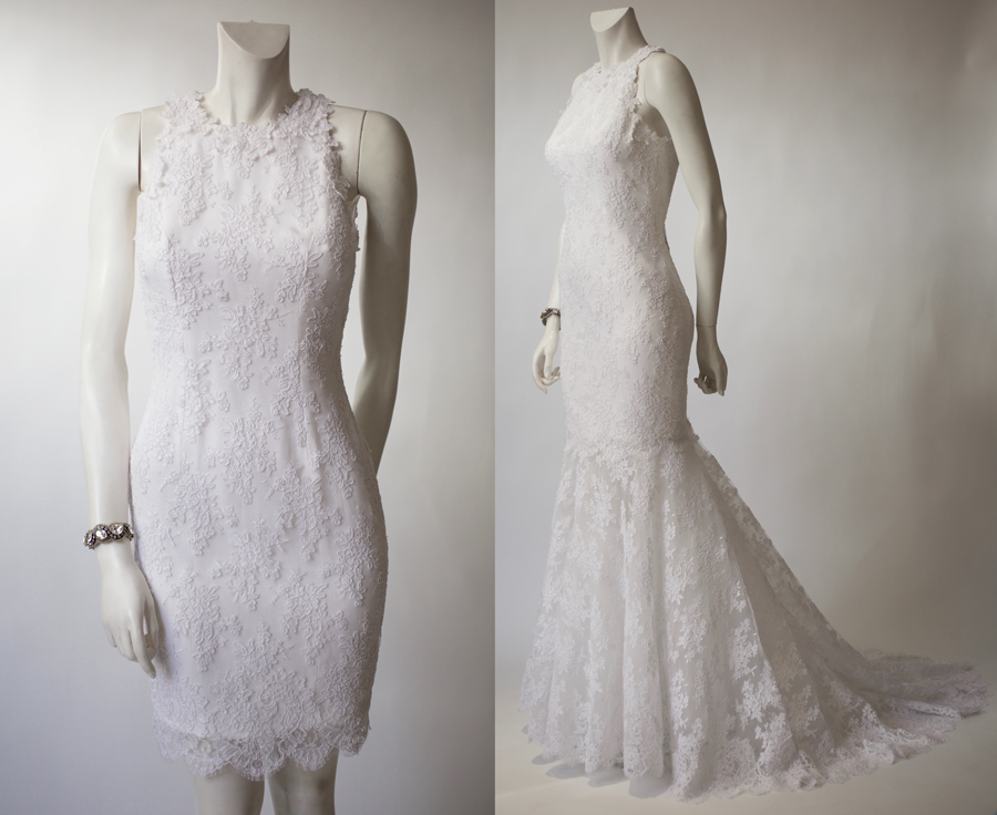 White French Lace Fishtail Wedding Dress