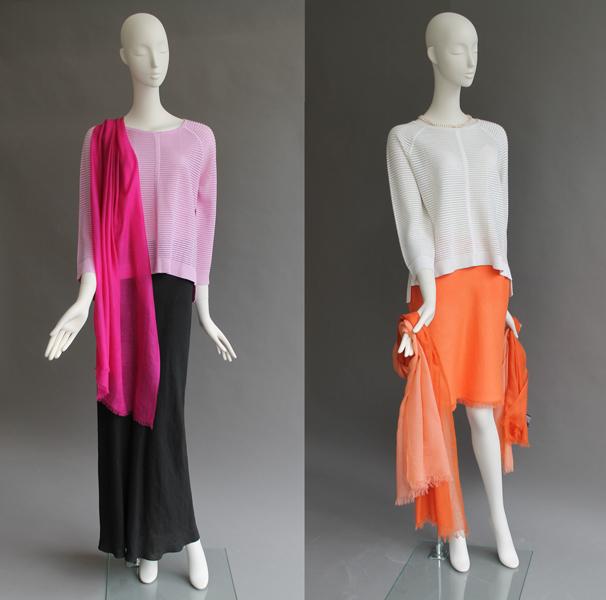 Crop-Silk-Linen-Textured-Top-Blanc-115-Cashmere-Scarf-Peche-Orange-145
