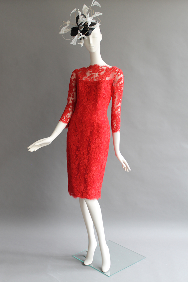 Red Lace Dress. Hat by Siana Yewdall